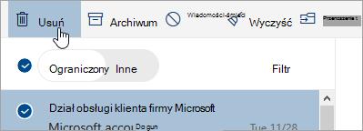 Zrzut ekranu przedstawiający przycisk Usuń