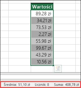 Zrzut ekranu przedstawiający zaznaczanie zakresu komórek, a następnie sprawdzanie wartości na pasku stanu