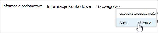 Kliknij wielokropek, a następnie kliknij pozycję język i region