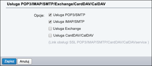 Wybierz pozycję POP3/SMTP oraz IMAP/SMTP.