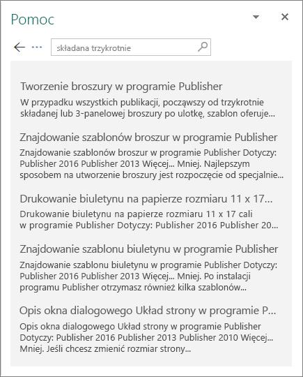 Zrzut ekranu przedstawiający okienko pomocy programu Publisher 2016 z wyświetlonymi wynikami wyszukiwania publikacji trzykrotnie składanej.