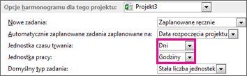 Okno dialogowe Opcje, obszar Opcje harmonogramu dla tego projektu