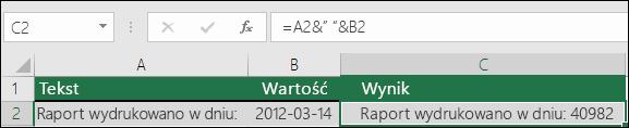 Przykład łączenia tekstów bez funkcji TEKST