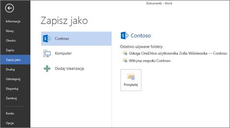 Ekran zapisywania przedstawiający usługę OneDrive dla Firm i witrynę programu SharePoint dodane jako lokalizacje
