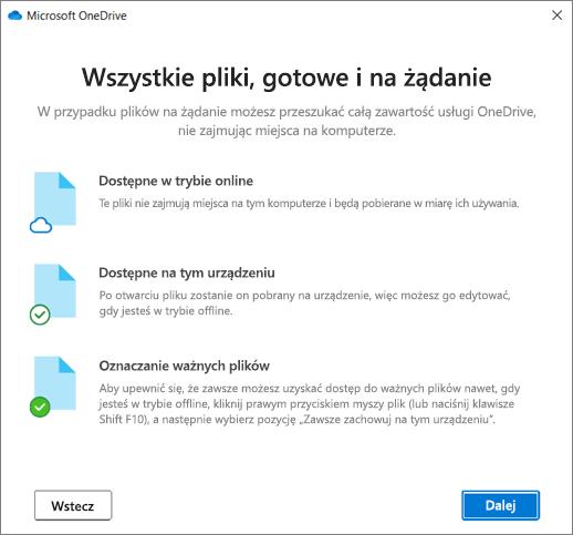 Ekran Pliki na żądanie w kreatorze OneDrive — Zapraszamy!