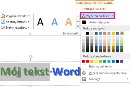 Galeria kolorów wypełnienia tekstu na karcie Narzędzia do rysowania > Formatowanie