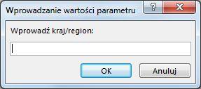 """Monit o wprowadzenie parametru z tekstem """"Wprowadź kraj/region""""."""