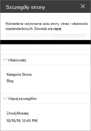 Okienko szczegółów strony z kategorią strony w blogu