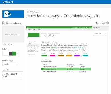Przykład ekranu służącego do zmieniania czcionki, koloru i układu witryny