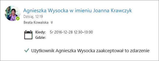Zrzut ekranu przedstawiający zaproszenie na spotkanie zaakceptowane przez pełnomocnika.