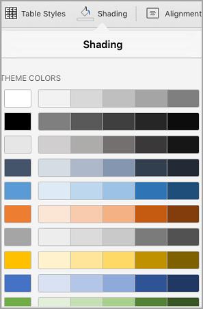 Opcje cieniowania tabeli iPad