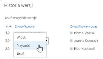 """Wybierz opcję """"Przywróć"""" z menu rozwijanego wybranej wersji dokumentu"""