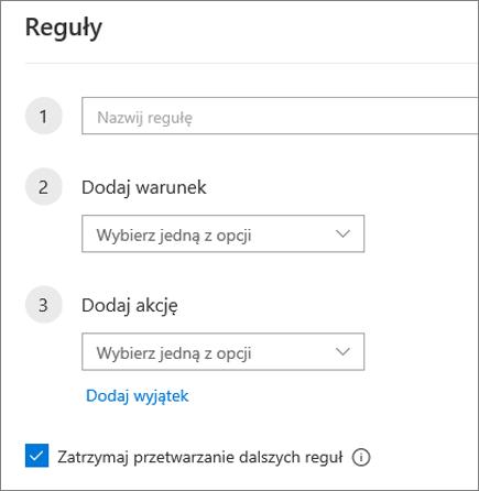Utwórz nową regułę w programie Outlook w sieci web