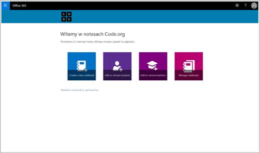 Początkowy ekran do tworzenia notesu zajęć Code.org