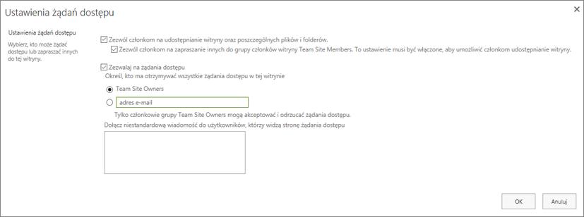 Zrzut ekranu przedstawiający okno dialogowe Żądania dostępu