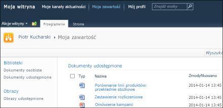 Witryna Moja witryna programu SharePoint 2010