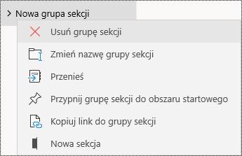 Usuwanie grup sekcji w aplikacji OneNote dla systemu Windows 10