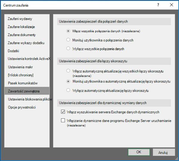 Ustawień zabezpieczeń zawartości zewnętrznej w Centrum zaufania programu Excel