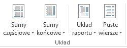 Opcje układu w grupie Układ na karcie Projektowanie