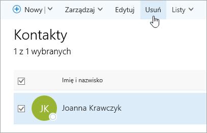 Zrzut ekranu przedstawiający przycisk Usuń na stronie Kontakty.