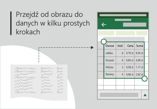 Grafika koncepcyjna tabeli odręcznie wstawione w programie Excel na urządzeniu podręcznym jako tabelę.