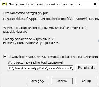 Wyświetla wyniki skanowania pliku danych pst programu Outlook przez narzędzie do naprawy Skrzynki odbiorczej firmy Microsoft (SCANPST. EXE).