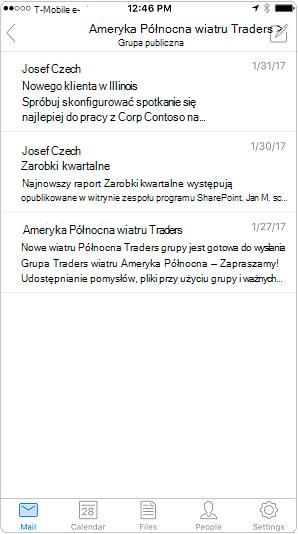 Widok konwersacji w aplikacji mobilnej programu Outlook