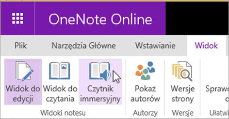 Otwieranie narzędzia do nauki w aplikacji OneNote Web App, wybierając kartę Widok