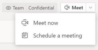 Przycisk Rozpocznij spotkanie u góry kanału w aplikacji Teams