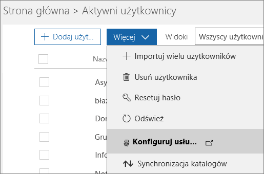 Menu Więcej na stronie Aktywni użytkownicy z zaznaczoną pozycją Skonfiguruj uwierzytelnianie Azure Multi-Factor Authentication.