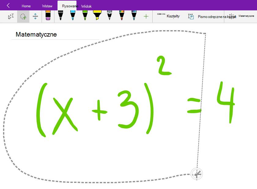 Równanie matematyczne odręcznego Zaznaczenie lasso