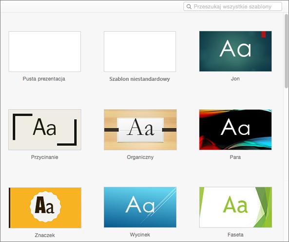 Standardowe szablony w programie PowerPoint