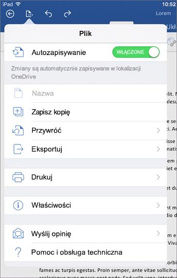 Przycisk Plik w programie Word dla systemu iOS umożliwia m.in. drukowanie i zapisywanie dokumentów oraz przesyłanie opinii.