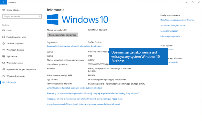 Sprawdź, czy system Windows jest w wersji Windows 10 Business.