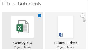 Zrzut ekranu przedstawiający wybieranie pliku w usłudze OneDrive w widoku kafelków