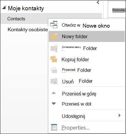 Utwórz nowy folder kontaktów.