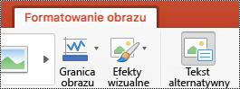 Przycisk Tekst alternatywny na wstążce w programie PowerPoint dla komputerów Mac