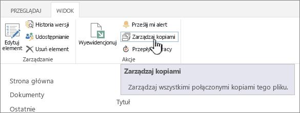 Zarządzanie kopii na Wstążce źródła