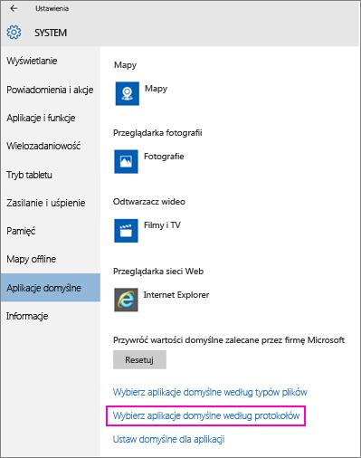 Zrzut ekranu przedstawiający link Wybierz aplikacje domyślne według protokołów w systemie Windows 10.