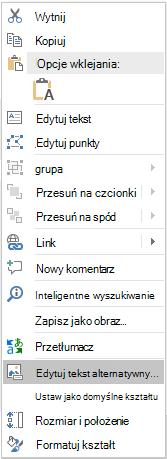 Edytowanie menu tekstu alternatywnego dla kształtów w programie PowerPoint Win32