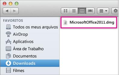 Selecione o arquivo MicrosoftOffice2011.dmg