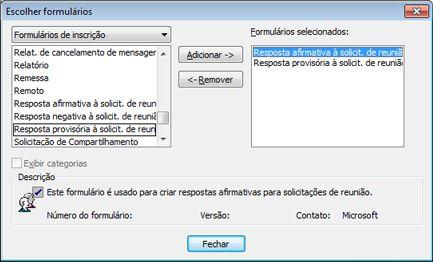 Caixa de diálogo Escolher Formulário