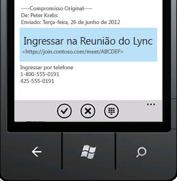 Captura de tela que mostra Ingressar em uma Reunião do Lync de seu dispositivo móvel