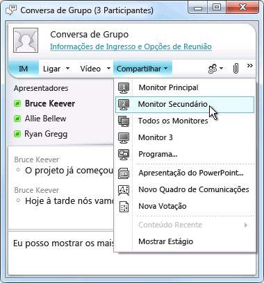 Janela do Microsoft Lync com opções de compartilhamento da tela