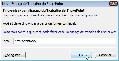 Caixa de diálogo Sincronizar com o Computador