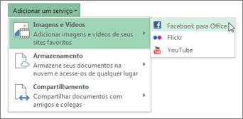 Adicionar um serviço, como o Flickr ou o Facebook para o Office