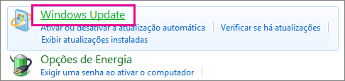 O link do Windows Update no Painel de Controle