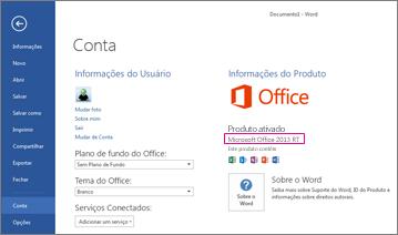 Word RT mostrando a janela Arquivo > Conta