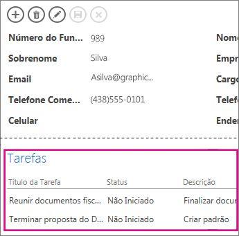 Um modo de exibição em um Access app com as tarefas mostradas em um Controle de Itens Relacionados.