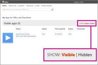 Mostrar aplicativos visíveis ou ocultos para o Office